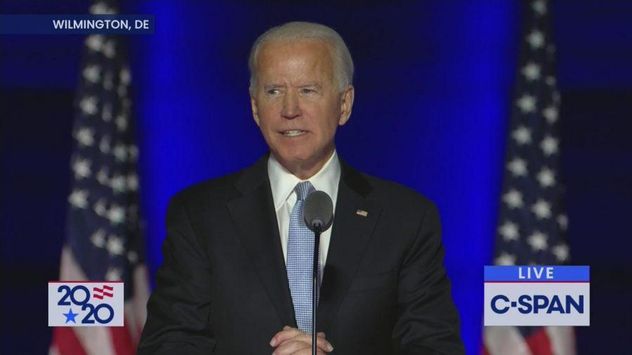 Joe Biden delivers his victory speech on November 7, 2020, from Wilmington, Delaware. (Photo credit: C-SPAN)