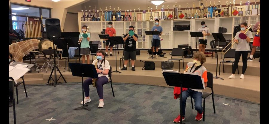 Jazz Band practices while masked and socially distant.