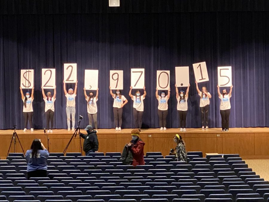 Mini-THON captains hold up the final amount fundraised.