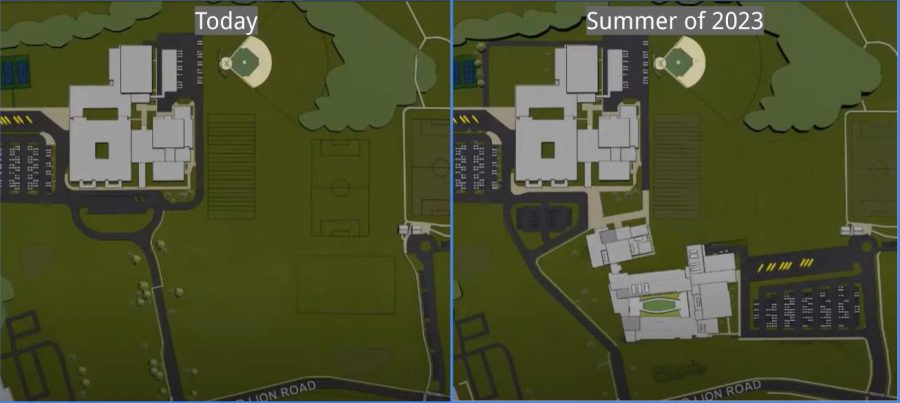 A bird's eye comparison of today's high school and the plans for a new high school building.