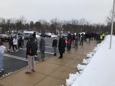 Teachers and students wait for the February 20 fire drill to conclude.