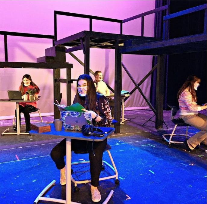 """Early filming process for scenes from """"Working."""" Photo Credit: LMHS Drama Club"""